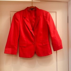 Red cropped sleeve blazer, sz 6